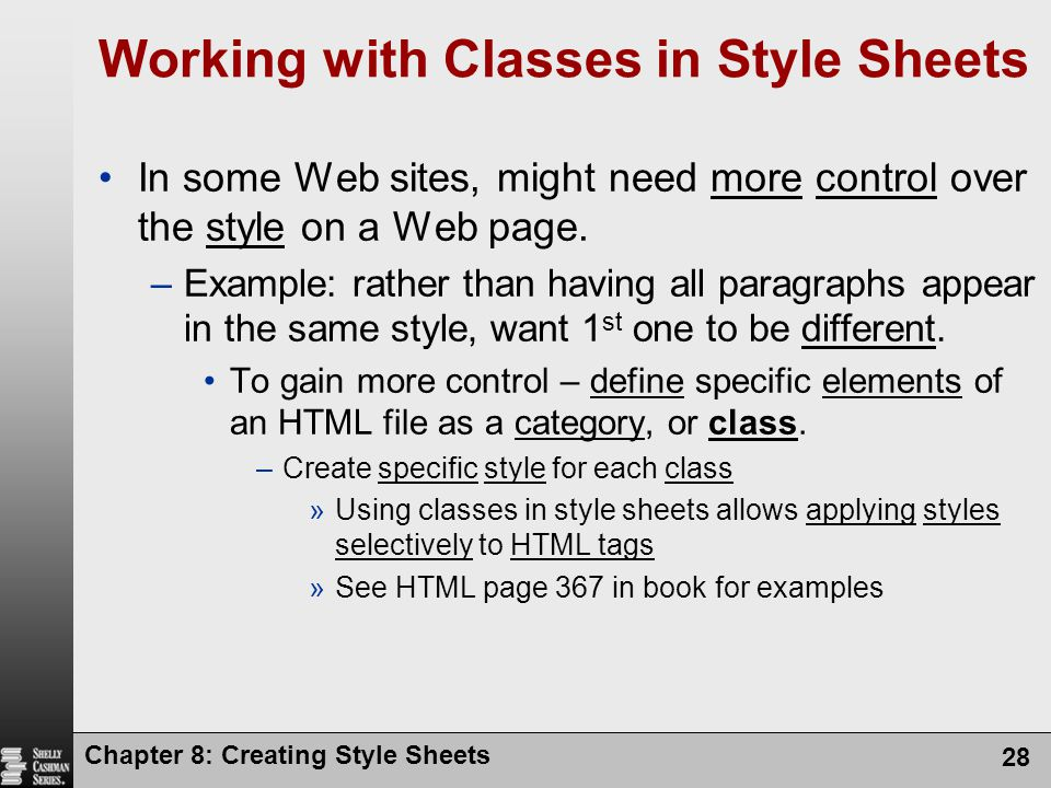 Working with Classes in Style Sheets