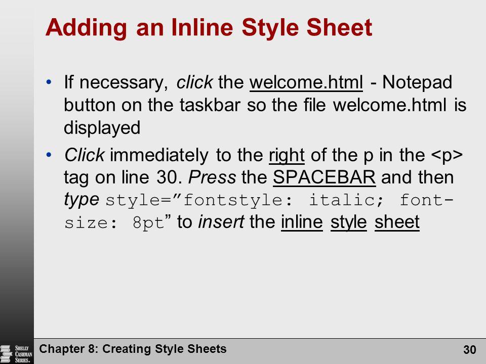 Adding an Inline Style Sheet