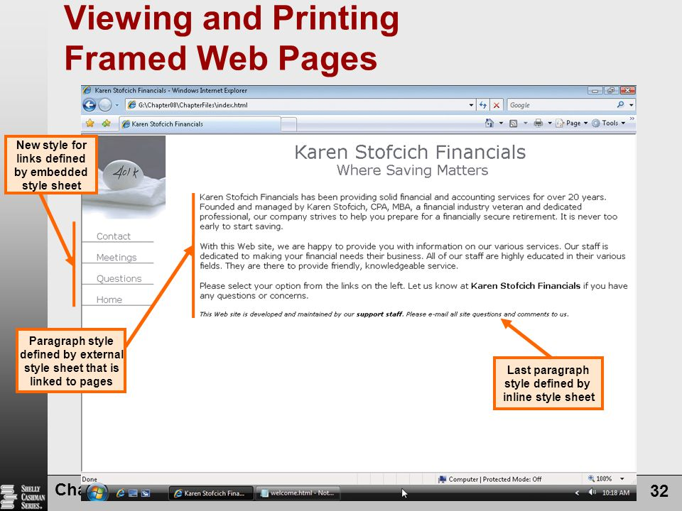 Viewing and Printing Framed Web Pages
