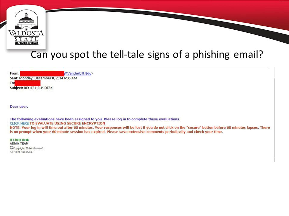 Can you spot the tell-tale signs of a phishing email