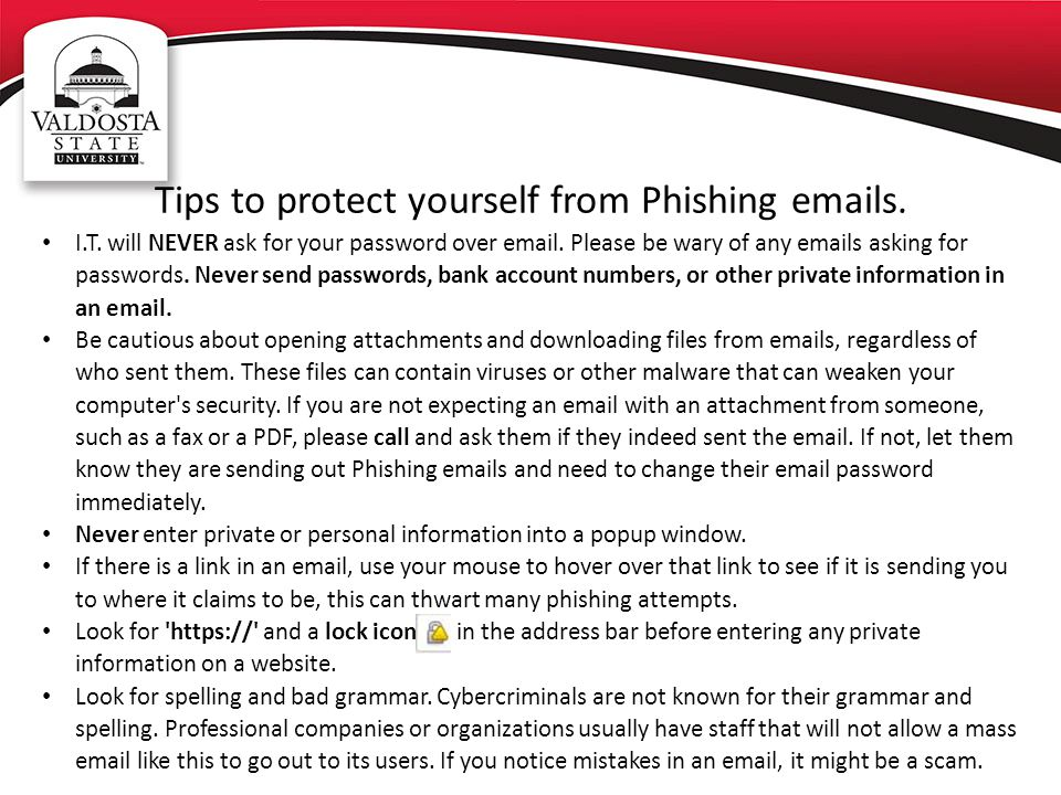 Tips to protect yourself from Phishing emails.