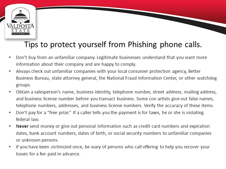 Tips to protect yourself from Phishing phone calls.