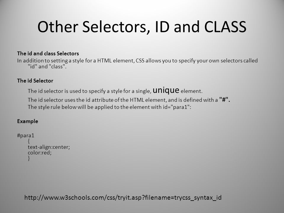 Other Selectors, ID and CLASS