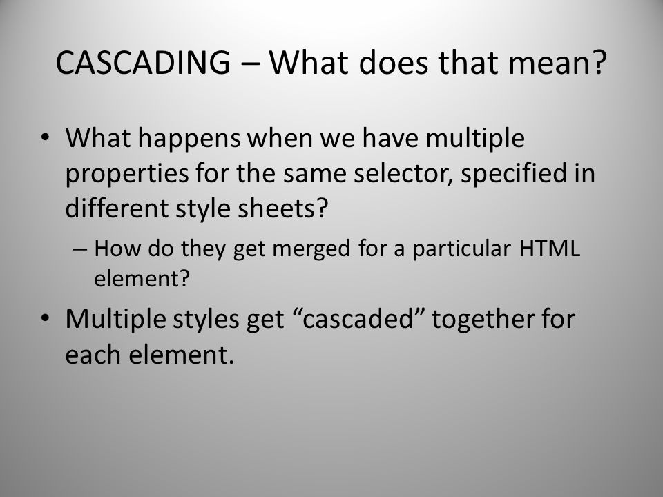 CASCADING – What does that mean