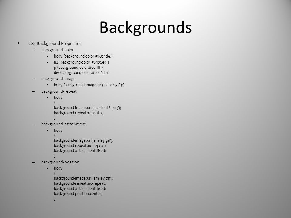 Backgrounds CSS Background Properties background-color