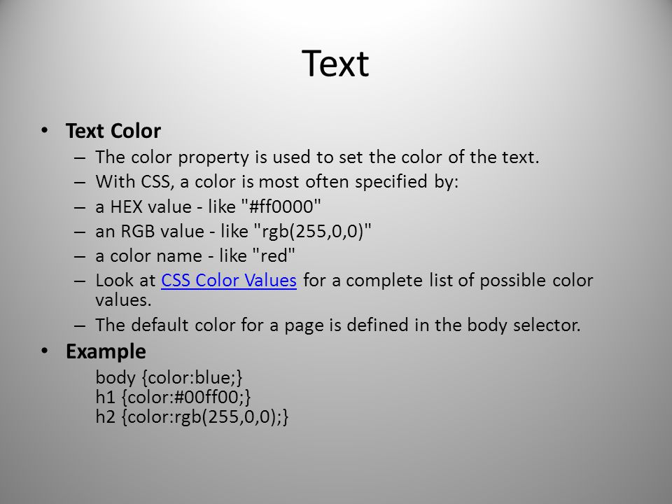 Text Text Color Example