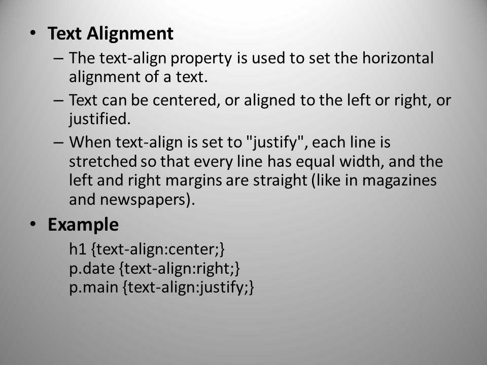 Text Alignment Example