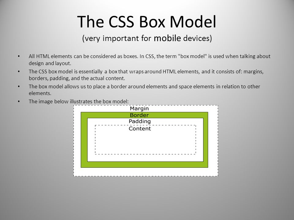 The CSS Box Model (very important for mobile devices)