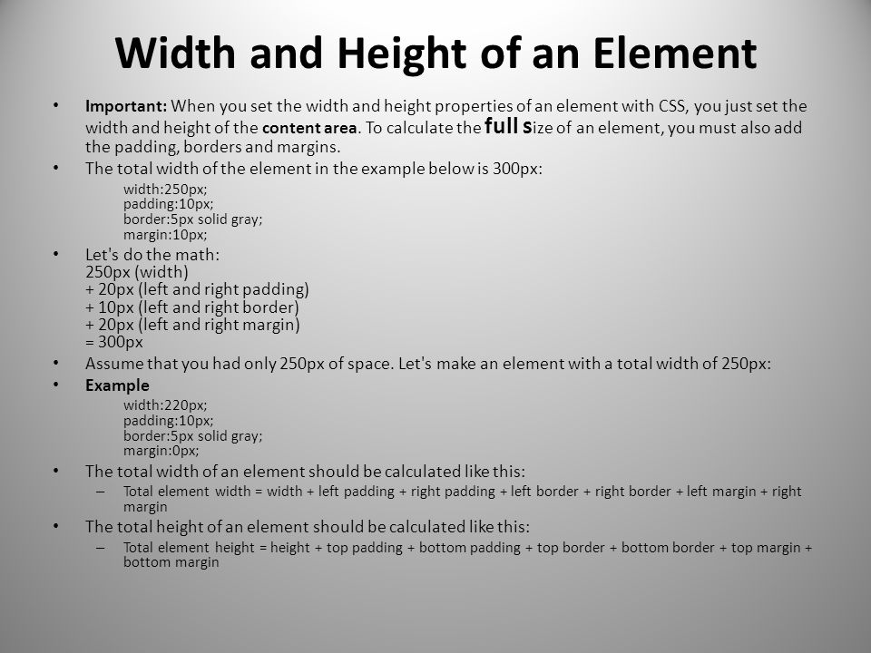 Width and Height of an Element