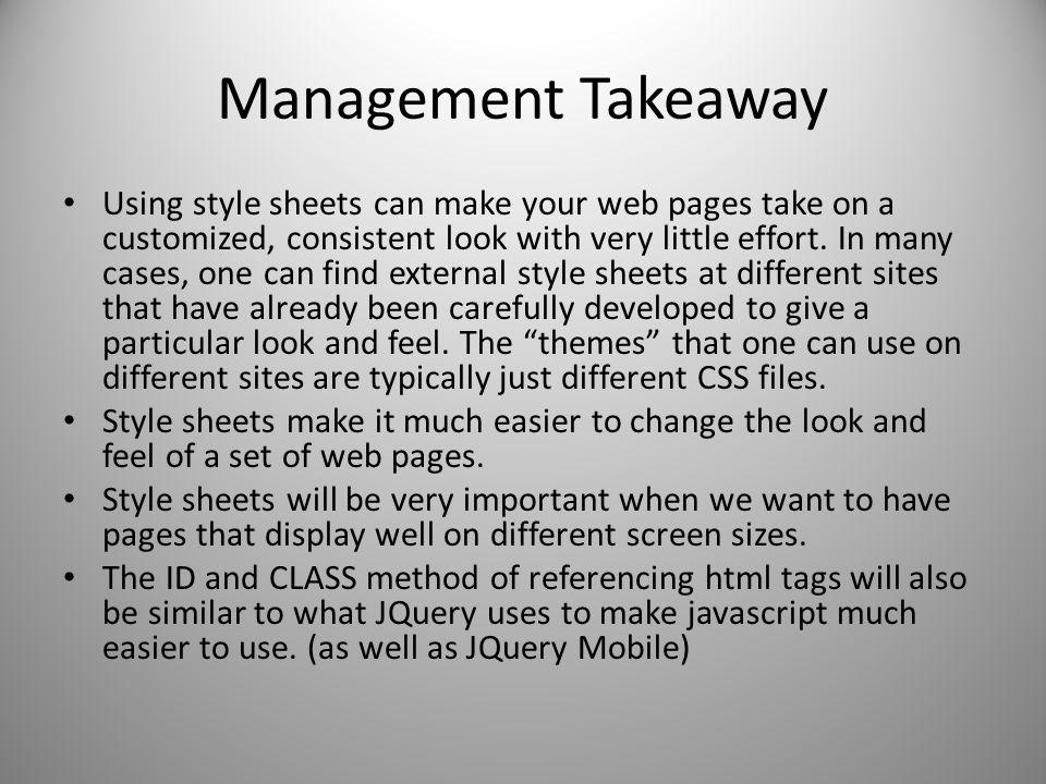 Management Takeaway