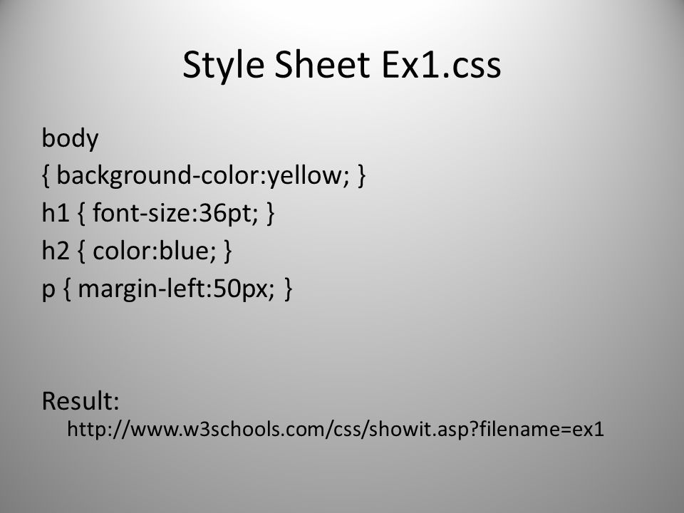 Style Sheet Ex1.css