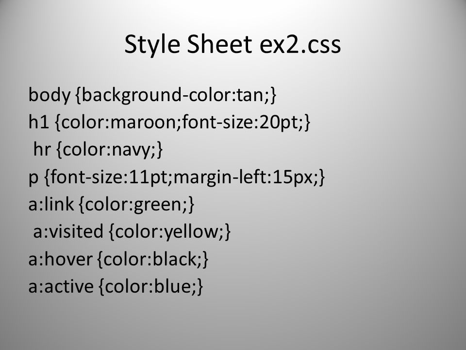 Style Sheet ex2.css