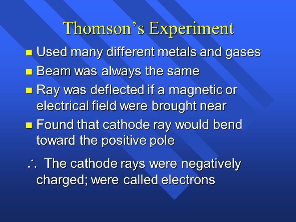 Thomson's Experiment Used many different metals and gases. Beam was always the same.