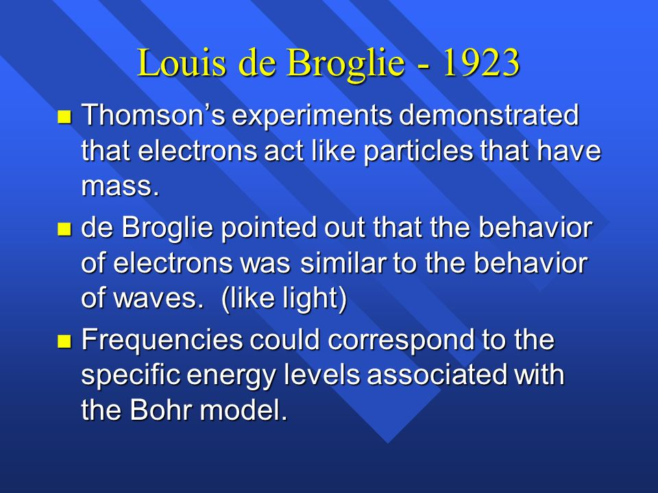 Louis de Broglie - 1923 Thomson's experiments demonstrated that electrons act like particles that have mass.