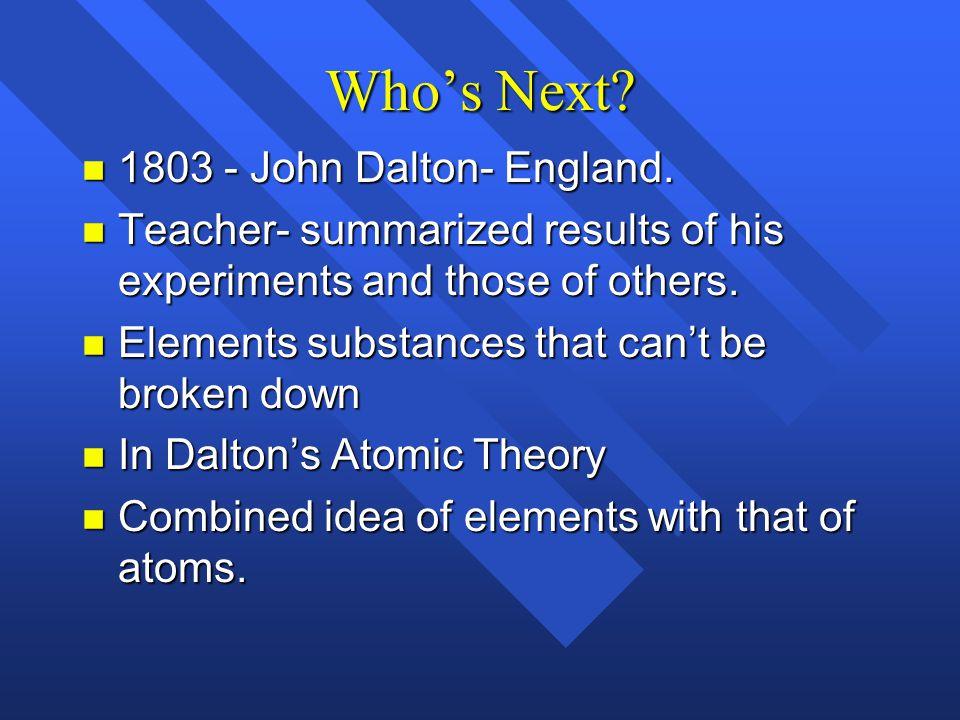 Who's Next 1803 - John Dalton- England.
