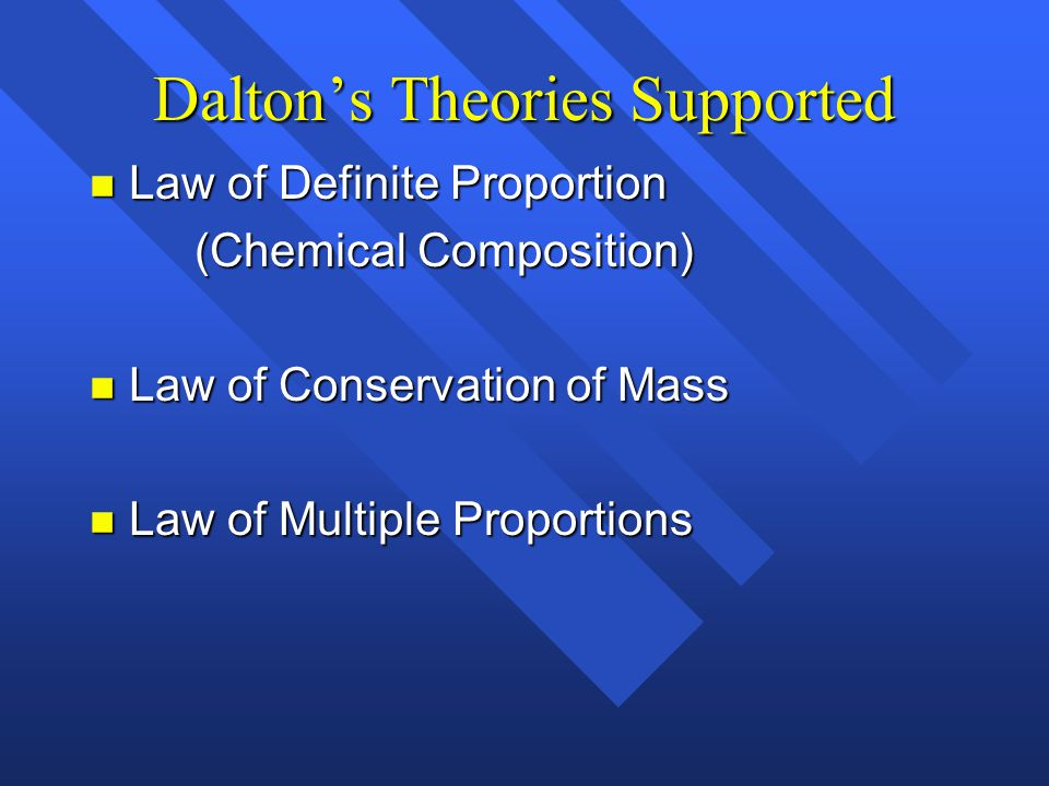 Dalton's Theories Supported