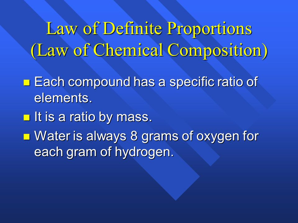 Law of Definite Proportions (Law of Chemical Composition)
