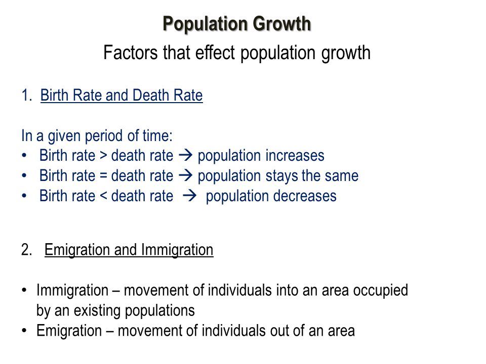 Factors that effect population growth