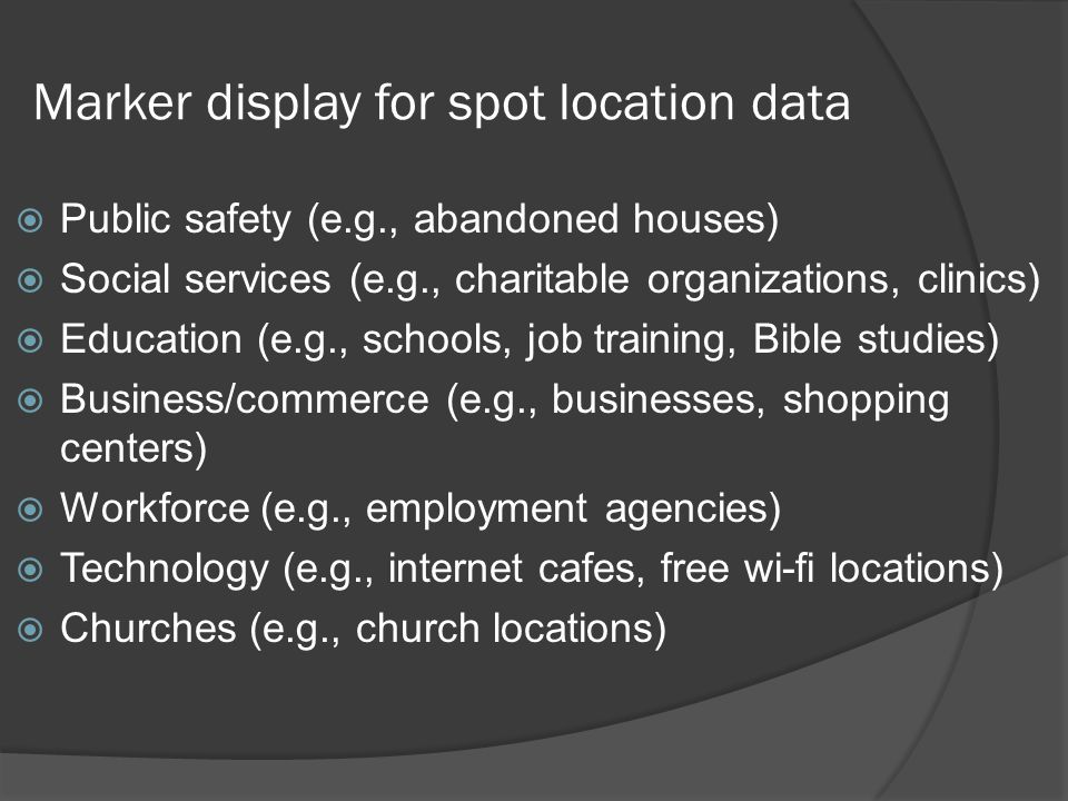 Marker display for spot location data