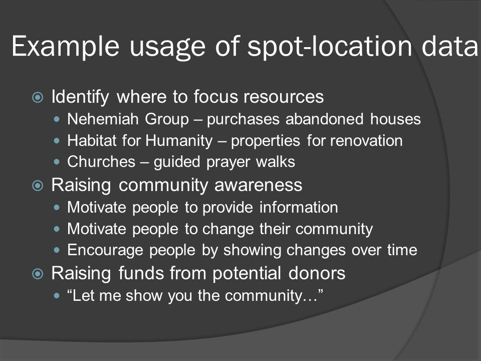 Example usage of spot-location data