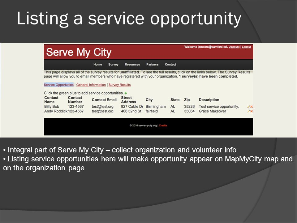 Listing a service opportunity