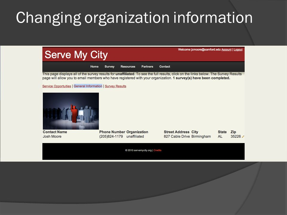 Changing organization information