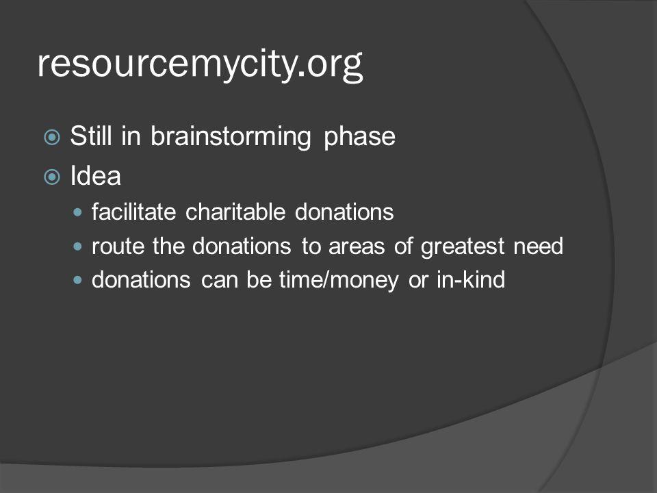 resourcemycity.org Still in brainstorming phase Idea