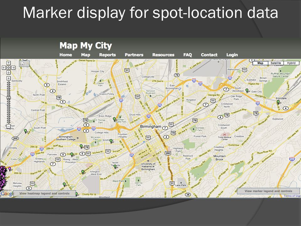 Marker display for spot-location data