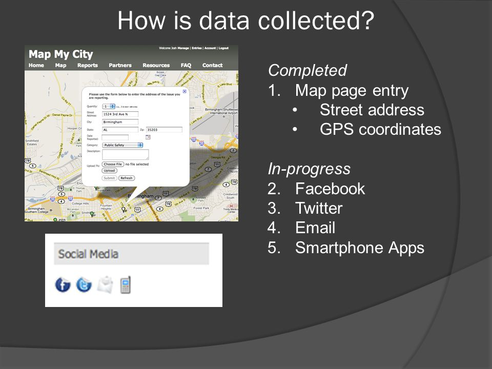 How is data collected Completed Map page entry Street address