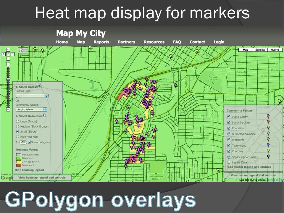 Heat map display for markers