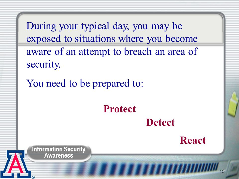 During your typical day, you may be exposed to situations where you become aware of an attempt to breach an area of security.