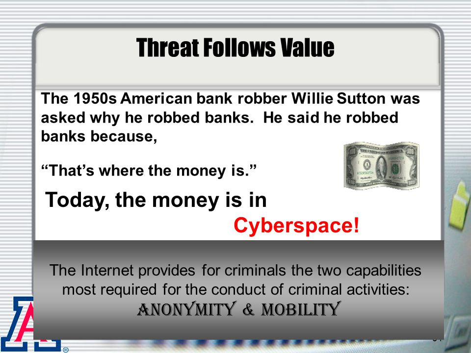 Threat Follows Value Today, the money is in Cyberspace!