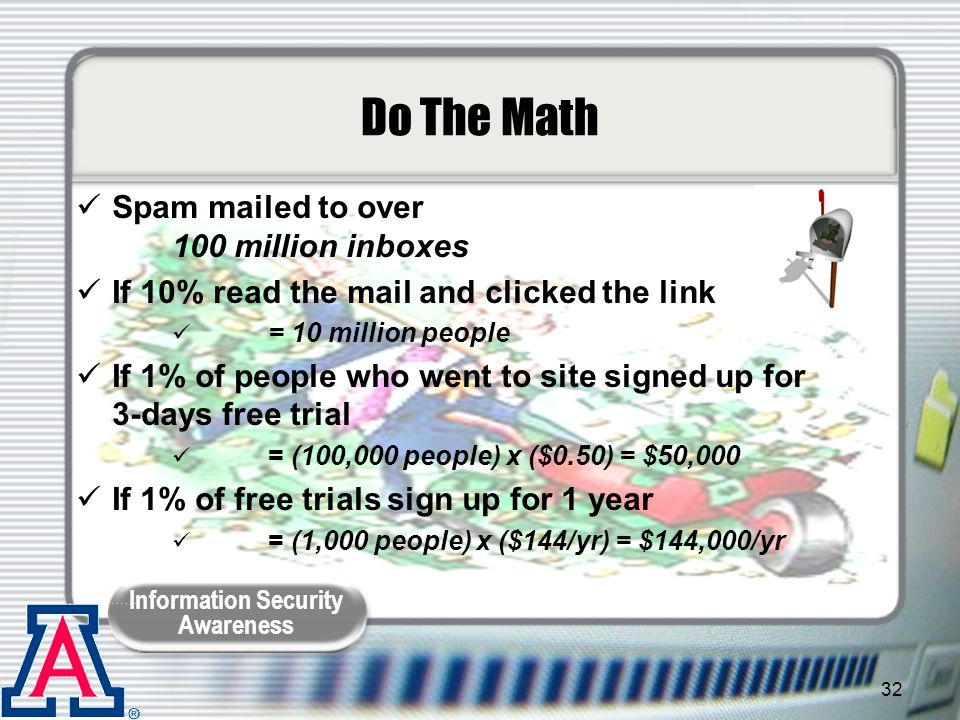 Do The Math Spam mailed to over 100 million inboxes