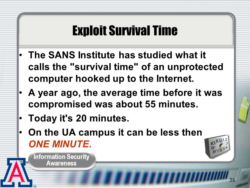 Exploit Survival Time The SANS Institute has studied what it calls the survival time of an unprotected computer hooked up to the Internet.