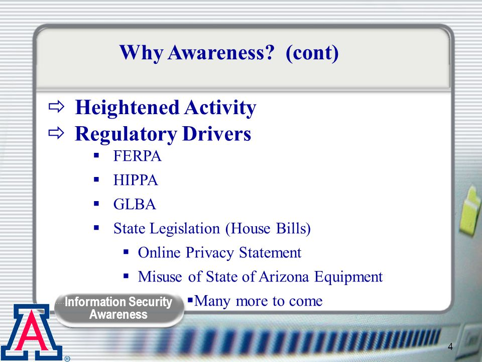 Why Awareness (cont) Heightened Activity Regulatory Drivers FERPA