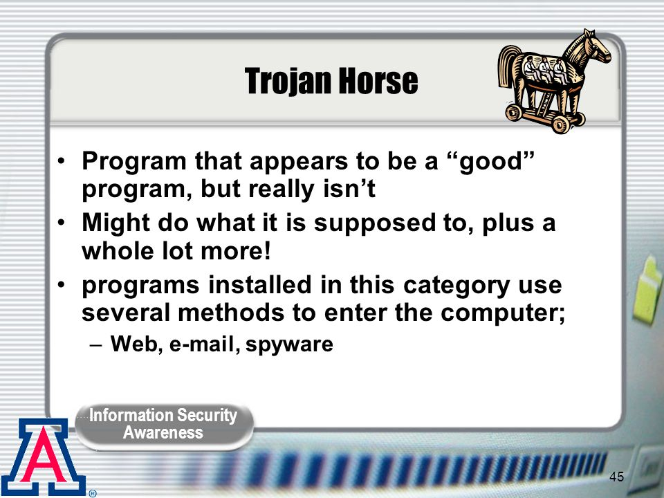 Trojan Horse Program that appears to be a good program, but really isn't. Might do what it is supposed to, plus a whole lot more!