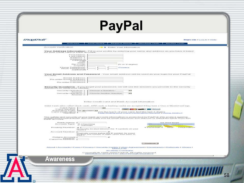 PayPal Kelley: Again, it asks for very detailed information