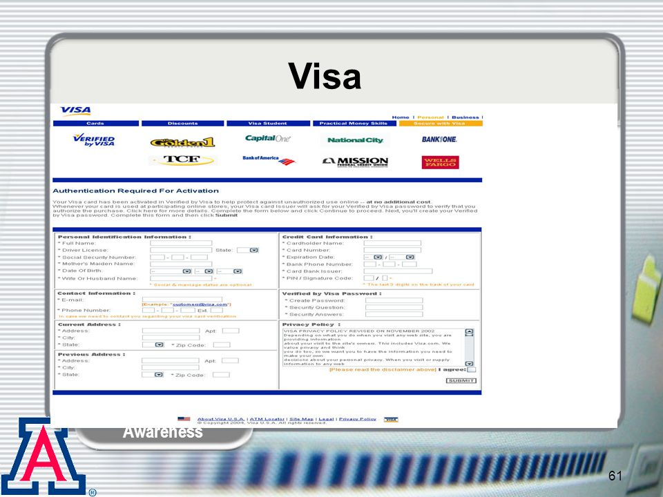 Visa Kelley: …Again, asks for way too much information.