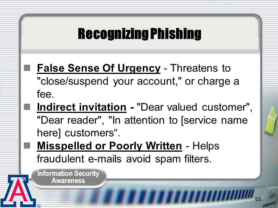 Recognizing Phishing False Sense Of Urgency - Threatens to close/suspend your account, or charge a fee.