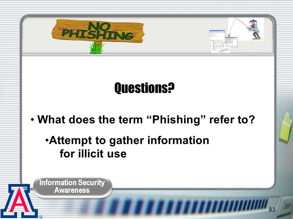 Questions What does the term Phishing refer to