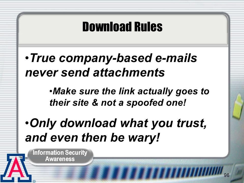 True company-based e-mails never send attachments