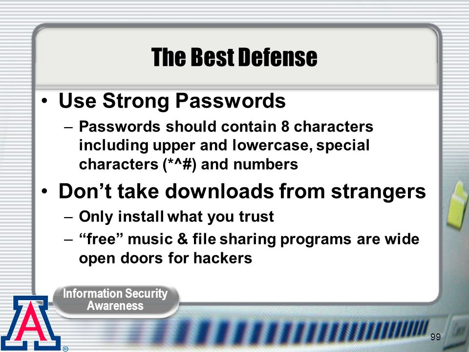 The Best Defense Use Strong Passwords