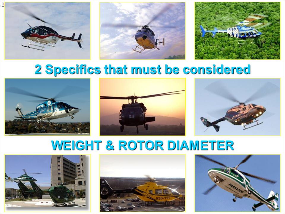 2 Specifics that must be considered WEIGHT & ROTOR DIAMETER