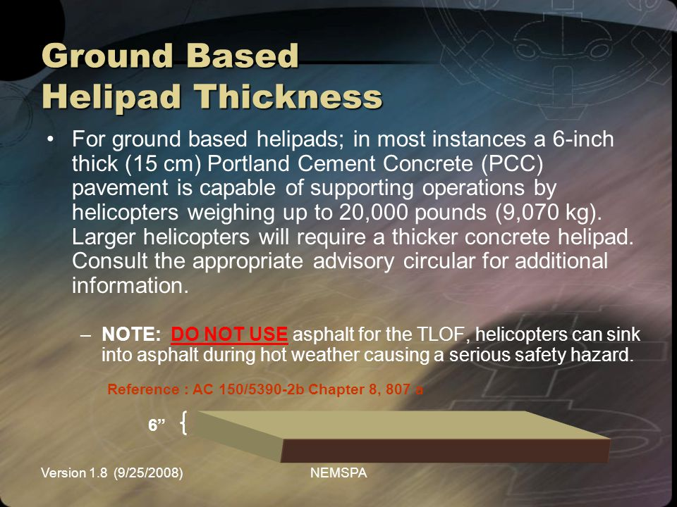 Ground Based Helipad Thickness
