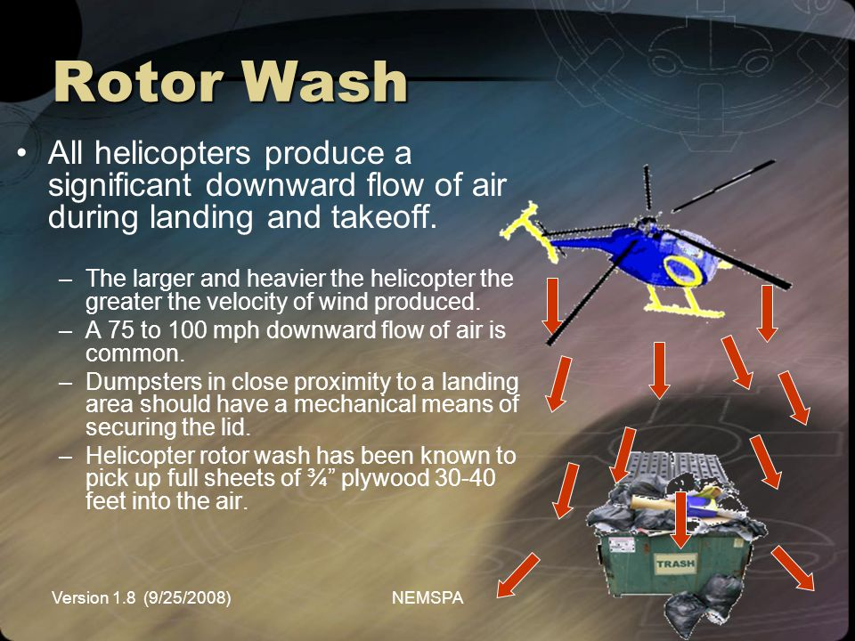 Rotor Wash All helicopters produce a significant downward flow of air during landing and takeoff.