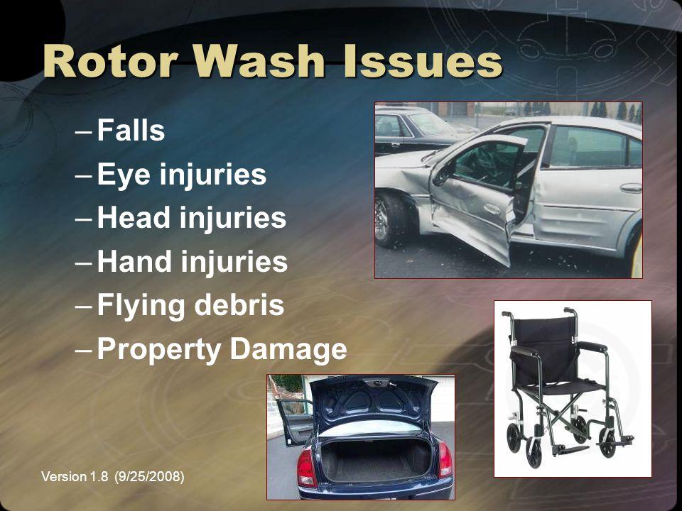 Rotor Wash Issues Falls Eye injuries Head injuries Hand injuries