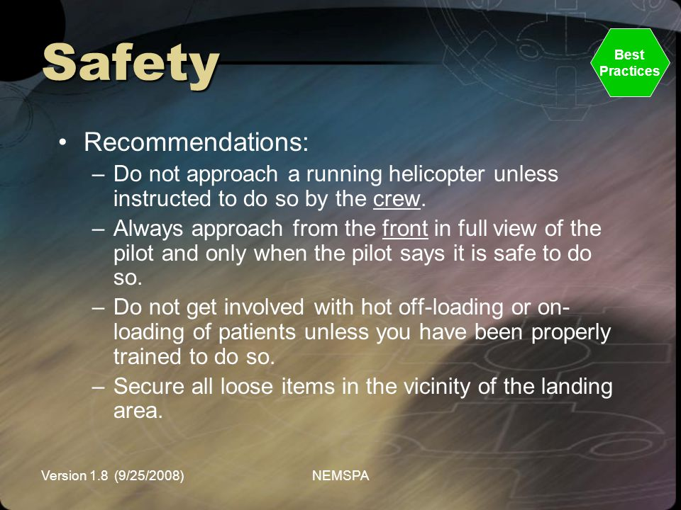 Safety Recommendations: