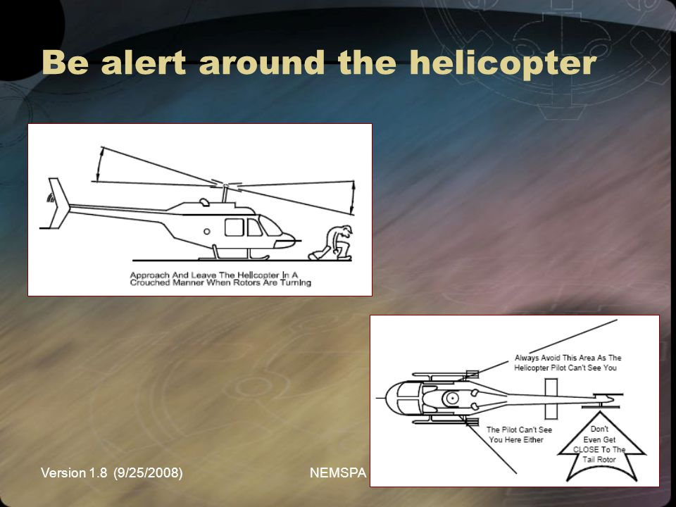 Be alert around the helicopter