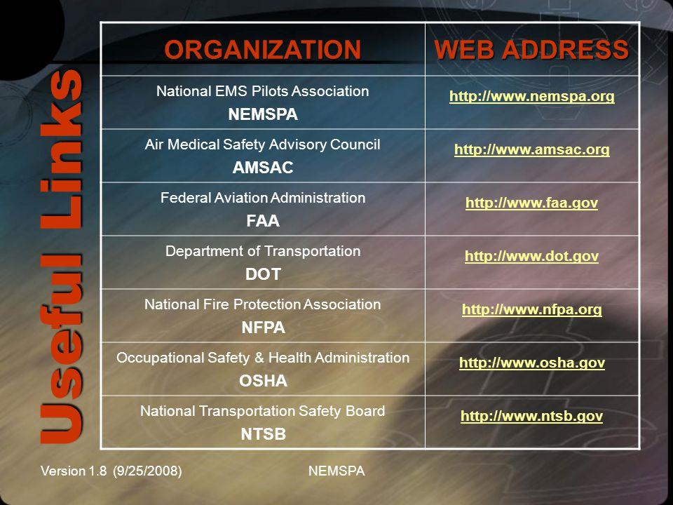 Useful Links ORGANIZATION WEB ADDRESS NEMSPA AMSAC FAA DOT NFPA OSHA
