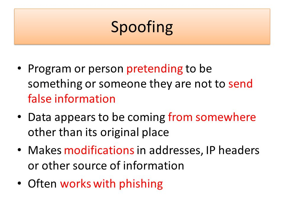 Spoofing Program or person pretending to be something or someone they are not to send false information.